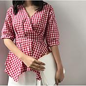 Mujer Simple Noche Camisa,Escote en Pico Un Color A Rayas Manga Corta Algodón