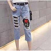 Mujer Sexy Tiro Alto Microelástico Chinos Pantalones,Corte Recto Floral