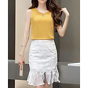 レディース お出かけ 夏 Tシャツ(21) スカート スーツ,シンプル Vネック ソリッド ノースリーブ