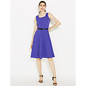 2016 hepburn retro vestido de barco cuello cuello falda grande de color púrpura de algodón mujeres sólo