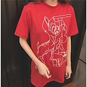 Mujer Sexy Camiseta,Escote Redondo Un Color Manga Corta Algodón