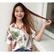 Mujer Simple Casual/Diario Camisa,Escote en Pico Un Color Estampado Manga Corta Algodón Lino