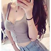 Mujer Sexy Simple Casual/Diario Discoteca Verano Tank Tops,Escote en U Profunda Un Color Sin Mangas Algodón Medio