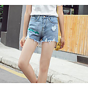 Mujer Sencillo Tiro Alto Microelástico Vaqueros Shorts Pantalones,Delgado Un Color
