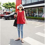 Mujer Simple Casual/Diario Camiseta,Escote Redondo Un Color Sin Mangas Otro