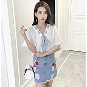 Mujer Simple Noche Verano T-Shirt Falda Trajes,Escote en Pico Floral Manga Corta Microelástico