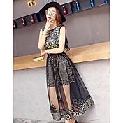 Mujer Vaina Vestido Casual/Diario Estampado Escote Redondo Maxi Sin Mangas Algodón Verano Tiro Medio Rígido Opaco