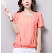 Mujer Simple Casual/Diario Camiseta,Escote Redondo Estampado Manga Corta Otro