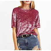 Mujer Simple Noche Verano Camiseta,Escote Redondo Un Color Manga Corta Acrílico Fino