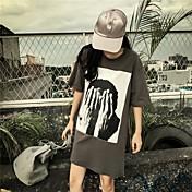 Mujer Chic de Calle Casual/Diario Verano Camiseta,Escote Redondo Estampado Manga Corta Algodón Medio