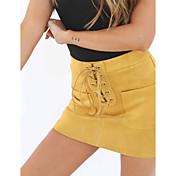 Feminino Sexy Moda de Rua Bandagem Mini Saias,Bodycon Cor Única Primavera Outono