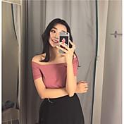 Mujer Sexy Simple Casual/Diario Camiseta,Escote Barco Un Color Manga Corta Algodón Poliéster