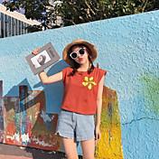 Mujer Vintage Deportes Camiseta,Escote Redondo Un Color Manga Corta Algodón
