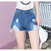 Mujer Sencillo Tiro Alto Microelástico Chinos Shorts Pantalones,Delgado Un Color Letra