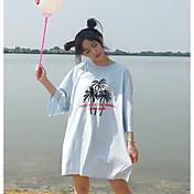 レディース カジュアル/普段着 Tシャツ,シンプル ラウンドネック プリント コットン 七分袖