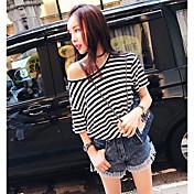 Mujer Simple Casual/Diario Camiseta,Escote Redondo A Rayas Media Manga Algodón