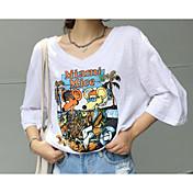 Mujer Simple Noche Casual/Diario Verano Camiseta,Escote Redondo Un Color Estampado Manga Corta Algodón Fino