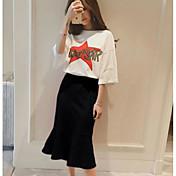 Mujer Simple Noche Primavera T-Shirt Falda Trajes,Escote Redondo Un Color Letra y Número Media Manga