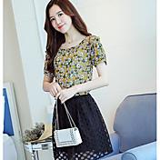 Mujer Simple Casual/Diario Blusa,Escote Redondo Estampado Manga Corta Poliéster