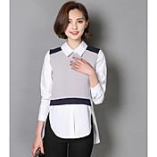 Mujer Simple Casual/Diario Camisa,Cuello Camisero Bloques Manga Larga Algodón