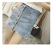 Mujer Sencillo Tiro Medio Microelástico Shorts Pantalones,Corte Recto Un Color