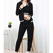 Mujer Vintage Primavera T-Shirt Pantalón Trajes Simple Con Texturas Sexy Manga Larga