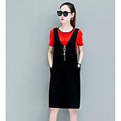 Mujer Simple Casual/Diario Verano T-Shirt Falda Trajes,Escote Redondo Un Color A Rayas Manga Corta