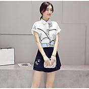 Mujer Simple Casual/Diario Verano Blusa Pantalón Trajes,Cuello Camisero Estampado Manga Corta