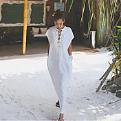 Mujer Corte Ancho Vestido Casual/Diario Un Color Escote en Pico Maxi Manga Corta Algodón Verano Tiro Medio Microelástico Fino