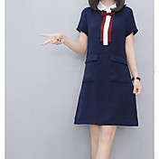 Mujer Vaina Vestido Casual/Diario Un Color Estampado Escote Chino Mini Sobre la rodilla Manga Corta Algodón Verano Tiro Alto Microelástico