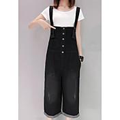 Mujer Sencillo Tiro Alto Microelástico Vaqueros Mono Pantalones,Perneras anchas Un Color