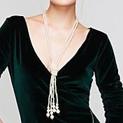 Mujer Collar con perlas Strands Collares collar largo Forma de Círculo Perla Perla Artificial joyería de disfraz Elegant Multi capa Joyas