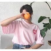 レディース カジュアル/普段着 Tシャツ,シンプル ラウンドネック プリント ポリエステル 半袖
