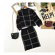 Mujer Simple Noche Verano T-Shirt Falda Trajes,Escote Redondo Cuadrícula / Plaid Manga Corta Microelástico