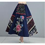 Mujer Vacaciones Midi Faldas,Columpio Verano Estampado Bloque de Color