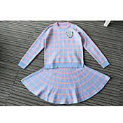 Mujer Activo Otoño Primavera T-Shirt Falda Trajes,Escote Redondo Líneas / Olas Ajedrez Manga Larga Microelástico