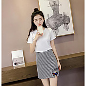 Mujer Simple Casual/Diario Verano T-Shirt Falda Trajes,Escote Redondo A Rayas Manga Corta