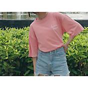 レディース カジュアル/普段着 Tシャツ,シンプル ラウンドネック プリント ポリエステル ハーフスリーブ