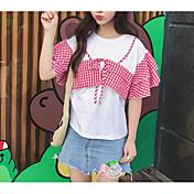 Mujer Simple Casual/Diario Camiseta,Escote Redondo Un Color Estampado Cuadrícula Media Manga Algodón