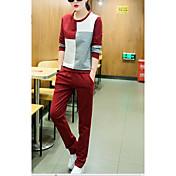 Mujer Simple Deportes Primavera Otoño Sudadera Pantalón Trajes,Escote Redondo Varios Colores Manga Larga