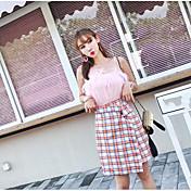 Mujer Simple Casual/Diario Verano T-Shirt Falda Trajes,Con Tirantes Ajedrez Sin Mangas