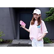 Mujer Simple Deportes Camiseta,Escote Redondo Un Color Manga Corta Lana