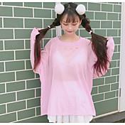 Mujer Regular Pullover Playa Un Color Escote Redondo Manga Larga Otro Verano Medio Microelástico