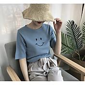 Mujer Regular Pullover Casual/Diario Estampado Escote Redondo Manga Corta Poliéster Primavera Verano Fino Elástico