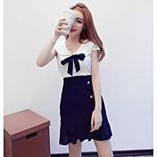 Mujer Vaina Vestido Noche Casual/Diario Bloques Escote Corazón Sobre la rodilla Manga Corta Algodón Verano Tiro Medio Microelástico Fino