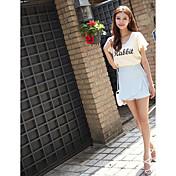Mujer Simple Noche Casual/Diario Verano T-Shirt Falda Trajes,Escote Redondo Un Color Manga Corta Microelástico