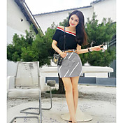 Mujer Simple Casual/Diario Verano T-Shirt Falda Trajes,Escote Barco A Rayas Manga Corta