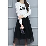 Mujer Simple Casual/Diario Verano T-Shirt Falda Trajes,Escote Redondo Letra y Número Manga Larga Microelástico