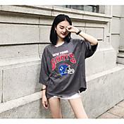 Mujer Simple Casual/Diario Camiseta,Escote Redondo Estampado Media Manga Algodón