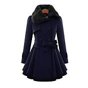 レディース カジュアル/普段着 秋 冬 コート,シンプル ピーターパンカラー ソリッド ロング コットン 長袖